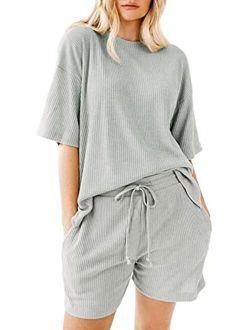 Zattcas Women Ribbed Knit Short Sleeve Top and Shorts/Pants Side Slit Lounge Set