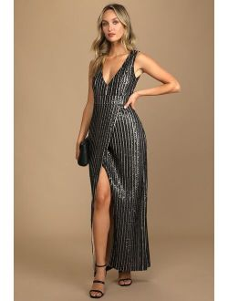 Unforgettable Elegance Black Sequin Sleeveless Maxi Dress