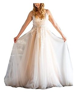 Melisa Spaghetti Strap Bridal Ball Gowns with Train A-Line Lace up Corset Wedding Dresses for Bride Plus Size