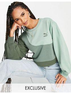 Convey Oversized Sweatshirt In Green Color Block Exclusive To Asos