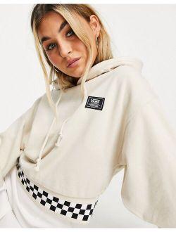 Boom Boom 66 cropped checkerboard hoodie in beige