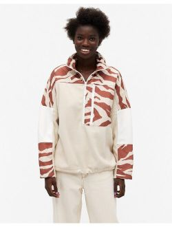 Monki Belice funnel neck sweatshirt in animal print