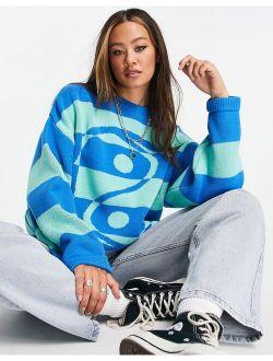 knitted oversized yin yang sweater in blue