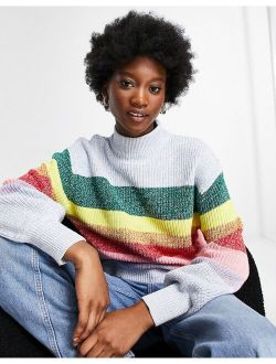 Monki Madga rainbow stripe knitted sweater in multi