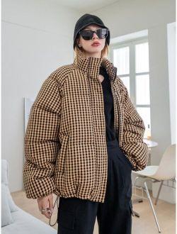 Coldbreak Gingham Zip Up Puffer Coat