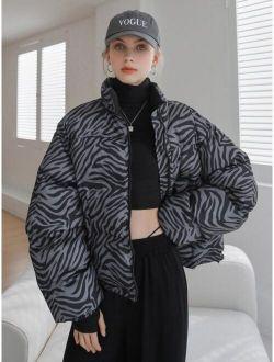 Coldbreak Zebra Striped Zip Up Winter Coat