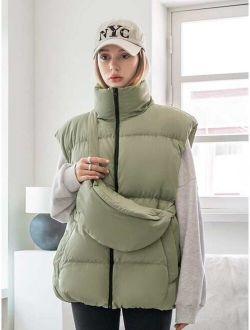 Coldbreak Solid Zip Up Winter Coat With Bag