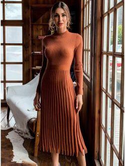 Missord Accordion Pleat Long Sleeve Midi Dress