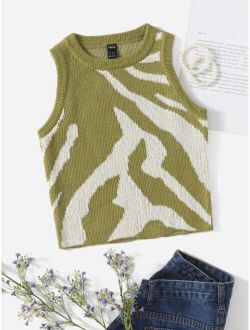 Graphic Pattern Sweater Vest