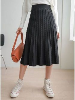 DAZY High Waist Seam Detail Pleated Knit Skirt