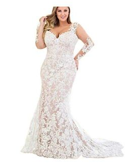 Two Pieces V Neck with Long Sleeves lace Bridal Ball Gown Wedding Dresses for Women Bride Detachable Train Plus Size