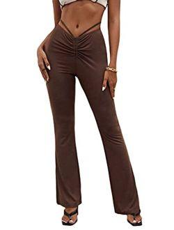 Women's Cut Out High Elastic Waist Long Pants Flare Leg Solid Trousers