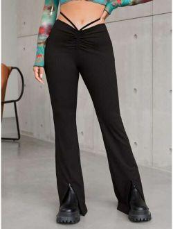 Strappy Detail Tie Back Split Hem Pants
