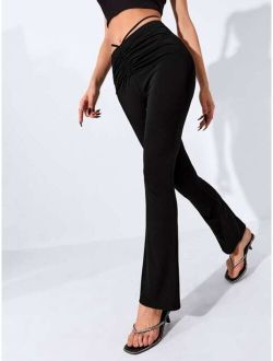 Ruched Cut Out Waist Flare Pants