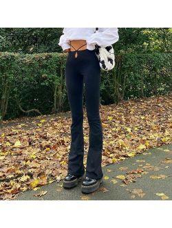 FSDA Black Autumn Winter Long Pants Women 2021 Casual High Waist Cut Out Harajuku Buttoms Design Bandage Trousers Fashion