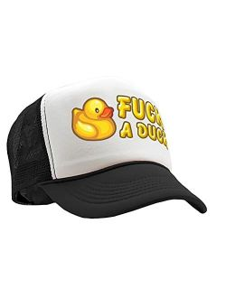 The Goozler - Fuck A Duck - Funny Dare Gift Gag Rubber Ducky - Vintage Retro Style Trucker Cap Hat