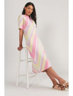 Olivia Rubin Pastel Striped Polo Dress