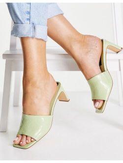 mule kitten heel sandal in green
