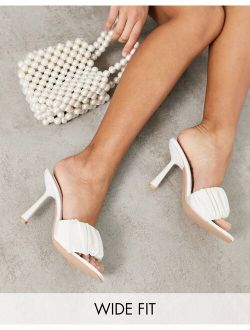 Be Mine Bridal Wide Fit Dream ruched heeled mules in ivory satin