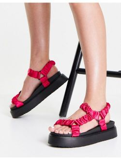 Ego Louis flatform sandals with ruched straps in pink