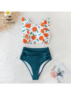Orange Print Tank High Waist Bikini Sets Sexy Ruffled Swimsuit Women Two Pieces Swimwear 2021 Girls Beach Bathing Suits