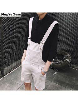 2021 Summer Fashion Men's Shorts Bib Overall Jeans Short Male Casual Ripped Denim Jumpsuits Jeans Shorts Pants Khaki White Black