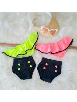 Girl Swimwear 2020 Toddler Baby Girl Bikini Set Off Shoulder Ruffle Swimsuit Swimwear Beachwear 2-6Y
