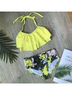 Children Girls Bikini Set 2021 Falbala Two-Pieces Swimming Suit Summer Halter Kids Girl Swimwear Swimsuit Bandage Bathing Suit