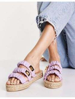 Jerry ruched strappy espadrille mules in lilac