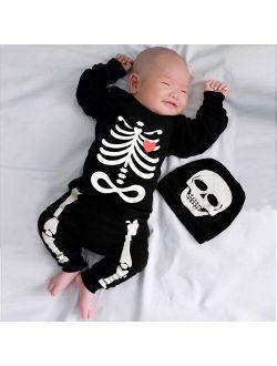 2021 Halloween Baby Set Male Baby Girl Long Sleeve Halloween Print Haberi One Piece + Hat Set  Bone Print Romper Jumpsuit A1