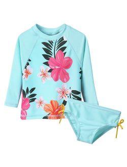 BAOHULU Floral Baby Girl Swimwear Long Sleeve Infant Bathing Suit Cyan UPF50+ Swimsuit for Toddler Girls Teens Children Swimwear