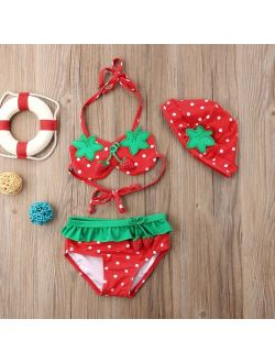 Baby Girl Strawberry Printed Ruffled Bikini Tankini Sets with Hat Kids Summer Beach Two Pieces Swimsuit Swimwear Bathing Suit