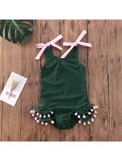 Baby Girl Green Tassel Swimsuit Swimwear Kids Children Summer Beach One Piece Bikini Tankini Bathing Suit
