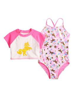 Girls 4-6x SO® Unicorn One-Piece Swimsuit & Cropped Rash Guard Set
