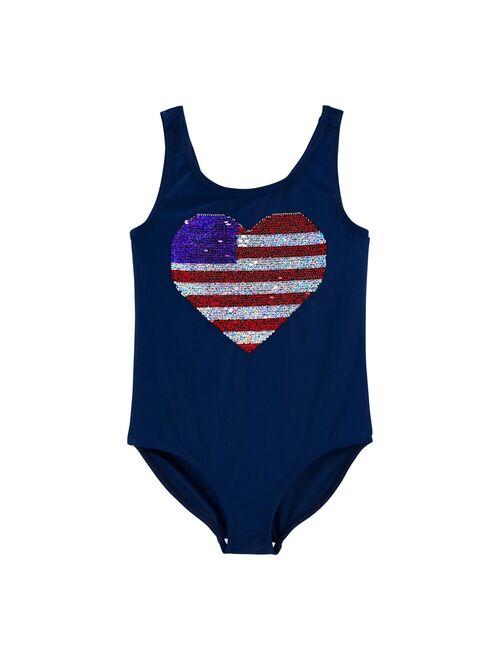 Girls 4-14 OshKosh B'gosh® Flip Sequin One-Piece Swimsuit