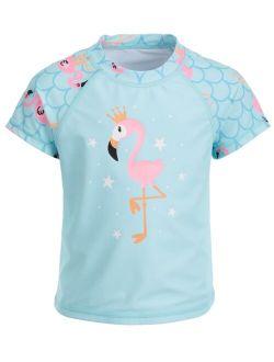 Miken Toddler Girls Flamingo-Print Short-Sleeve Rash Guard