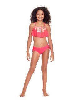 Glitter Beach Big Girls Flounce Bikini Set with Foil Print, 2 Piece