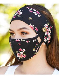 Love, Kuza Black Pink Floral Two-Layer Non-Medical Face Mask Set
