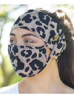 Love, Kuza Taupe Leopard Dual-Layer Non-Medical Mask & Button Headband Set