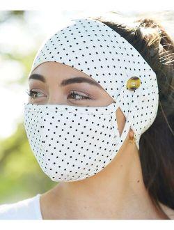 Love, Kuza Ivory Polka Dot Dual-Layer Non-Medical Mask & Button Headband Set