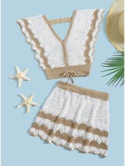 Girls Scallop Trim Crochet Cover Up Set
