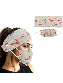 2pcs Face Protection Set - 1 Headband with Buttons + 1 Face Covering for Mother's Day Gift