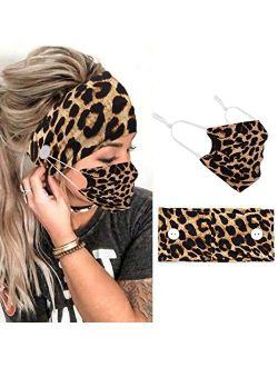 Jeairts Boho Bandeau Headbands Button Hair Bands Elastic Cloth Fabric Truban Head Wraps with Mouth Cover Non Slip Head Scarfs Stylish Yoga Hair Accessories for Women and