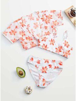 3pack Girls Floral Bikini Swimsuit & Kimono