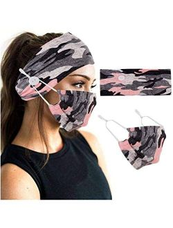 YBSHIN Boho Hair Bands African Buttons Headbands Floral Hair Wraps Turban Hair Scarfs Yoga Hair Wears Elastic Hair Bands with Printed Mouth Cover Headpieces for Women and