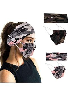 Studio 10 Headbands with Buttons for Face Cotton Mask, Non Slip Nurse Headbands Holder, Sport Sweatband Yoga Gym Stretch Elastic Hair Band for Women