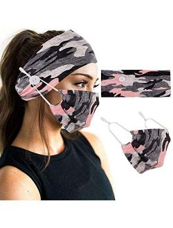 2 Pcs Headbands Set Headband with Buttons for Mask, Elastic Non Slip Women Special Hair Accessories for Yoga and Running Exercise