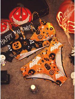 Girls Halloween Print Wrap Bikini Swimsuit