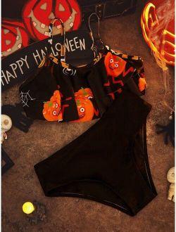 Girls Halloween Print Flounce Hem Bikini Swimsuit