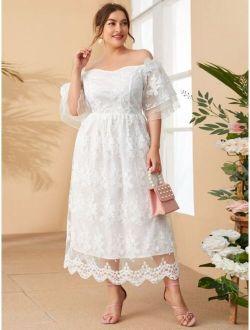 Plus Off Shoulder Bell Sleeve Floral Embroidered Mesh Dress